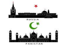 Silhouetten van gezichten van Rusland en Pakistan stock illustratie