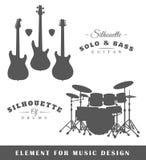 Silhouetten van gitaren en trommels Stock Afbeelding