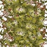 Silhouetten van groene en bruine bloemen Overladen natuurlijke achtergrond royalty-vrije illustratie