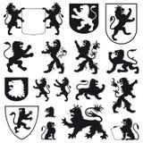 Silhouetten van heraldische leeuwen Stock Foto
