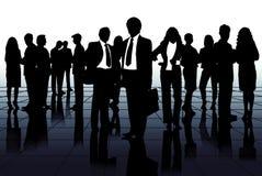 Silhouetten van het commerciële team Stock Foto's