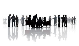 Silhouetten van het Diverse Bedrijfsmensen Werken stock afbeeldingen