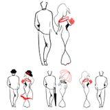 Silhouetten van het houden van paren het lopen Royalty-vrije Stock Fotografie