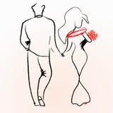 Silhouetten van het houden van paren het lopen Royalty-vrije Stock Afbeeldingen
