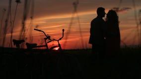 Silhouetten van het tedere houdende van paar die zacht over de rode heldere hemel tijdens de zonsondergang op gebied kussen Gang  stock videobeelden