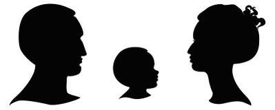 Silhouetten van hoofden Stock Fotografie