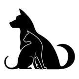 Silhouetten van huisdieren Stock Afbeeldingen