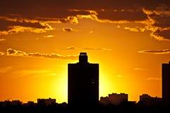 Silhouetten van huizen in de Avond. Moskou Royalty-vrije Stock Afbeeldingen