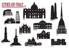 Silhouetten van Italiaanse steden Royalty-vrije Stock Afbeeldingen