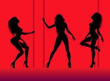 Silhouetten van jonge dansende mooie vrouw Stock Afbeelding