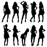 Silhouetten van jonge meisjes Royalty-vrije Stock Afbeeldingen