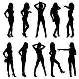 Silhouetten van jonge meisjes Royalty-vrije Stock Fotografie