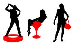 Silhouetten van jonge vrouwen Stock Afbeelding