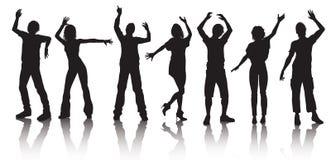 Silhouetten van jongeren het dansen Stock Foto