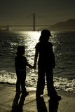 Silhouetten van kinderen Royalty-vrije Stock Afbeeldingen