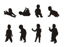 Silhouetten van kinderen Stock Fotografie