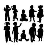 Silhouetten van Kinderen, ssign en symbool Royalty-vrije Stock Foto