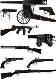Silhouetten van klassieke vuurwapens Stock Foto