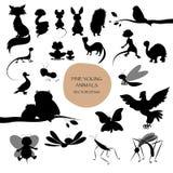 Silhouetten van leuke die dieren op witte achtergrond worden geïsoleerd zoogdier vector illustratie