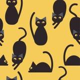 Silhouetten van leuke katten Naadloos patroon Vector illustratie Kinderens patroon Gele achtergrond royalty-vrije illustratie