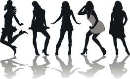 Silhouetten van meisjes Stock Afbeeldingen