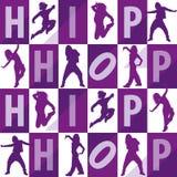 Silhouetten van meisjes dansende hiphop Stock Foto's