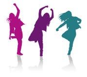 Silhouetten van meisjes het dansen hiphopdans Royalty-vrije Stock Fotografie