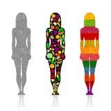 Silhouetten van meisjes met vruchten en groenten royalty-vrije illustratie