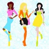 Silhouetten van meisjes in zure kleuren sixties Stock Afbeelding