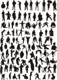 Silhouetten van mensen Stock Foto