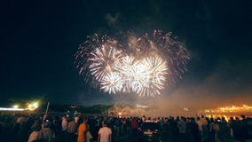 Silhouetten van mensen die op vuurwerk letten stock footage