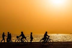 Silhouetten van mensen die van een gang genieten door de kust van de stad royalty-vrije stock foto