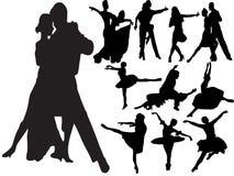 Silhouetten van mensen het dansen Stock Foto's