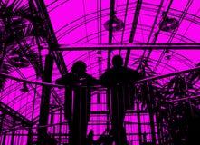 Silhouetten van mensen op roze Stock Foto's