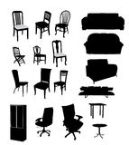 Silhouetten van meubilair Stock Foto's