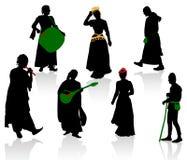 Silhouetten van middeleeuwse mensen royalty-vrije illustratie