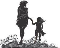 Silhouetten van moeder en haar dochter Stock Foto