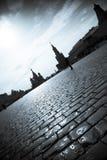 Silhouetten van Moskou het Kremlin royalty-vrije stock foto's