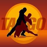 Silhouetten van paar het dansen Argentijnse tango Stock Afbeelding