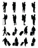 Silhouetten van reizigers vector illustratie