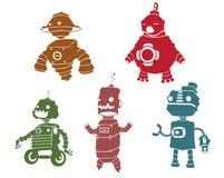 Silhouetten van robot Royalty-vrije Stock Afbeeldingen