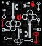 Silhouetten van sleutels stock illustratie