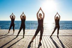 Silhouetten van sportieve meisjes het dansen zumba dichtbij overzees bij zonsopgang Stock Foto