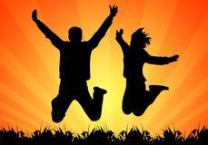 Silhouetten van springende mensen vector illustratie