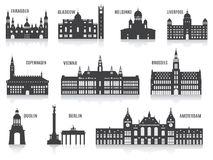 Silhouetten van steden Stock Afbeelding