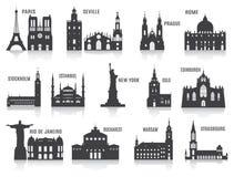 Silhouetten van steden Stock Foto's