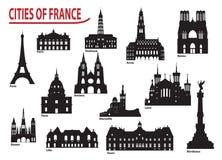Silhouetten van steden in Frankrijk Stock Afbeeldingen