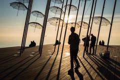 Silhouetten van Thesseloniki, Griekenland stock fotografie