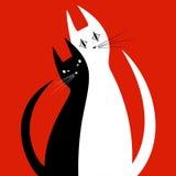 Silhouetten van twee katten in liefde Royalty-vrije Stock Afbeeldingen