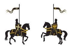 Silhouetten van twee ridders Royalty-vrije Stock Afbeeldingen